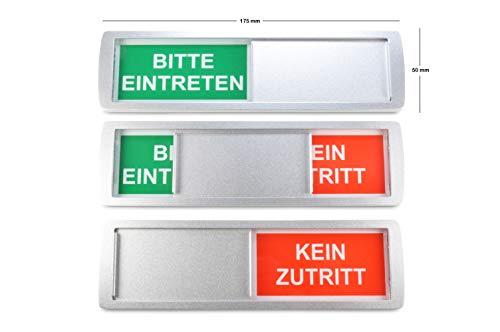 SynMe 1 Letrero Deslizante Grande Bitte EINTRETEN/KEIN ZUTRITT - 17,5 x 5 cm - Letrero con función Deslizante para indicar el Estado de una habitación - Adhesivo Trasero d de la reconocida Marca 3M