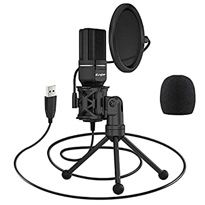 Kungber USB Microphone PC Computer Condenser Microphone PS4 Gaming Recording Mic with Stand & Pop Filter for Desktop Laptop MAC/Windows Streaming,Broadcast,YouTube