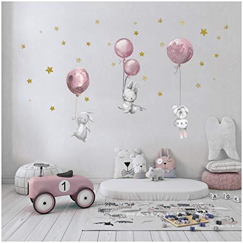 yabaduu Wandsticker Sticker Aquarell Tiere Selbstklebend für Kinderzimmer Babyzimmer Spielzimmer Mädchen Junge (Y037-6 Hasen mit Ballons Rosa)
