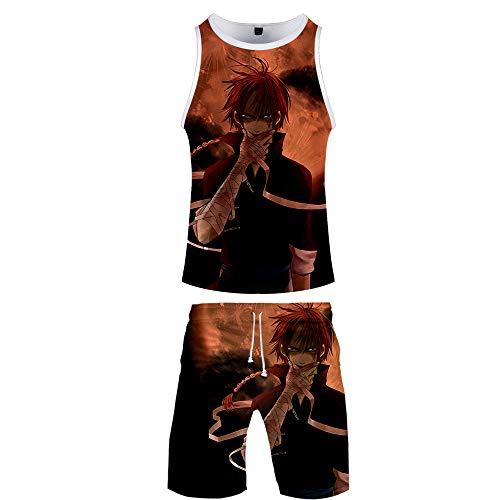 GMANKEE Ropa De Salón Pijamas Casual Shorts De Manga Corta Ropa Hombre Niños Niñas Camisetas T-Shirt Unisex Traje Corto Gintama Anime Ropa,XXL