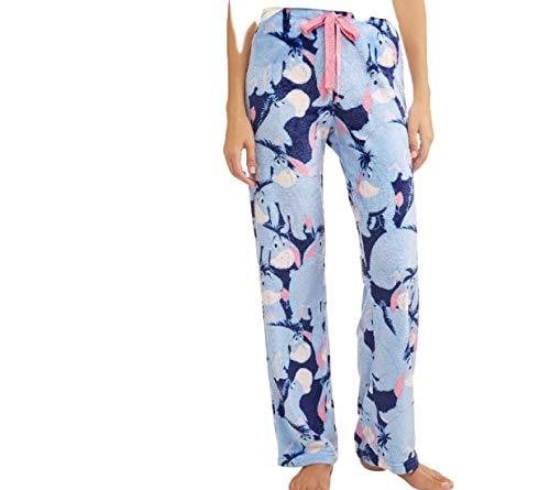 Disney Eeyore Womens Pajamas Minky Fleece Sleep Lounge Pants, Blue, X-Large / 16-18