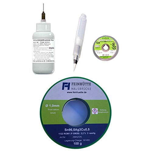 EO-FH SMD Profi-Set 002, 50 ml No-Clean Elektronik-Flussmittel 3,0% Feststoff, EO-Compact Flux-Pen (unbefüllt), Entlötlitze 1,5 mm x 1,5 m + 100 g Lötzinn 1,00 mm Durchmesser, Sn96,5Ag3Cu0,5