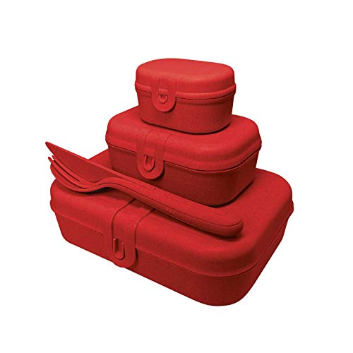 Koziol Pascal Ready Luchbox-Set + Besteck in Organic red - Made in Germany