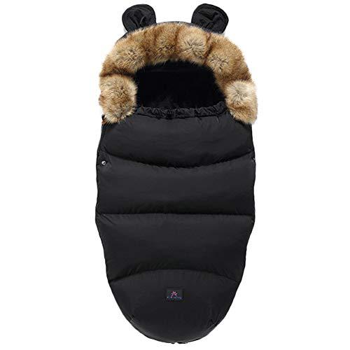 Fußsäcke für Kinderwagen Universal Winter Warm Wasserdicht Winddicht Waschbar Baby Schlafsäcke für Kinderwagen, Autositz, Sportwagen, Buggy, Babyschale (Schwarz)