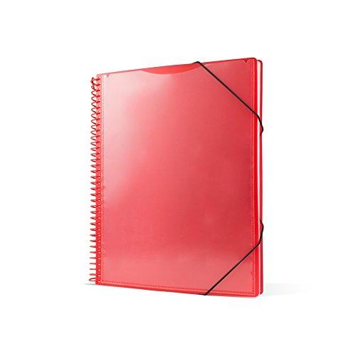 Pryse 4240053 - Carpeta espiral con 50 fundas, A4, color rojo