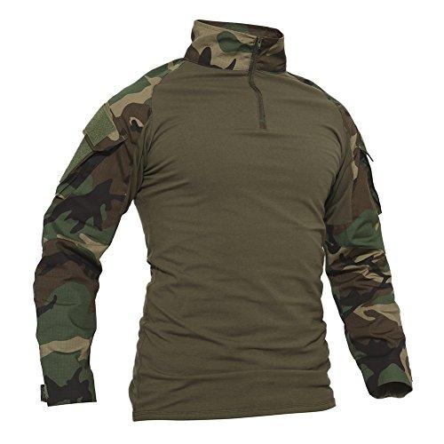TACVASEN Mens Tactical Digital Camo Tactical Military Long Sleeve T-Shirt Tops Jungle Camo,US S/Tag L