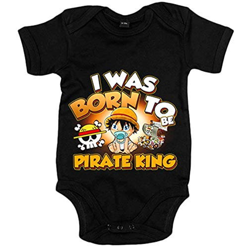 Body bebé I was born to be pirate Baby Monkey D Luffy king parodia One Piece - Negro, 6-12 meses