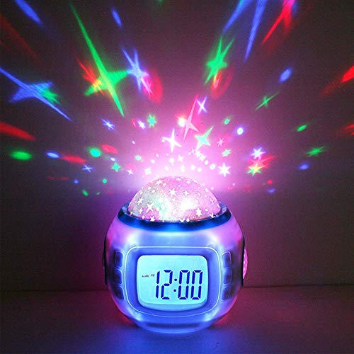 Luminoso Sueño Despertador Digital Música Cielo Estrellado Proyector Luz Nocturna Calendario Termómetro Bebé Regalo Decoración del Hogar