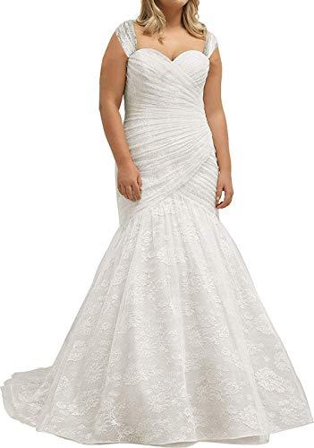 Megan Damen Herzausschnitt Brautkleider Hochzeitskleid Spitzen Meerjungfrau Standesamtkleid Prinzessin Lang Brautkleider Übergröße Elfenbein Weiß