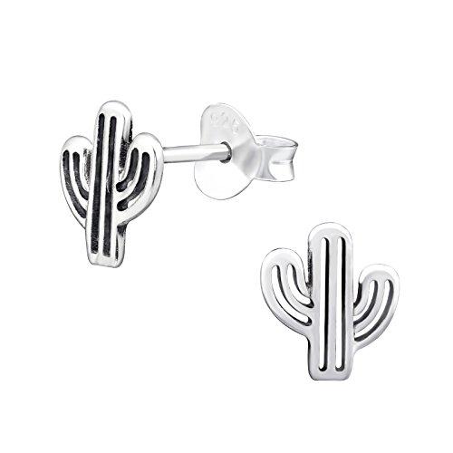 Cactus Stud Pendientes–plata de ley 925–tamaño: 7mm x 8mm–caja de regalo libre–la rosa y plateado compañía–rs0585
