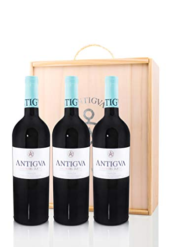 ANTIGVA Crianza 2016 - Vino tinto Tempranillo - D.O. Ribera del Duero - Estuche de madera regalo 3 Botellas x 750 ml