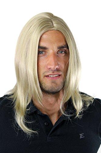 Longue perruque pour homme, style jeune et à la mode, avec raie au milieu, de couleur blond foncé GFW891-24