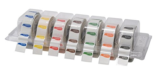DayMark Safety Systems I132152 Day of The Week 3/4' Square Dissolvable Labels, Monday-Sunday, Label Dispenser Included (7,000 Labels)