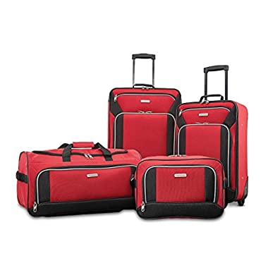 American Tourister Fieldbrook Xlt 4pc Set (Bb/Wh Dfl/21/25 Upright), Red/Black