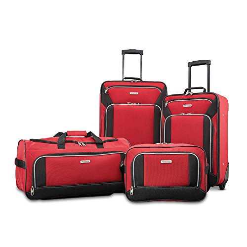 American Tourister Fieldbrook XLT Softside Upright Luggage, Red/Black, 4-Piece Set (BB/DF/21/25)