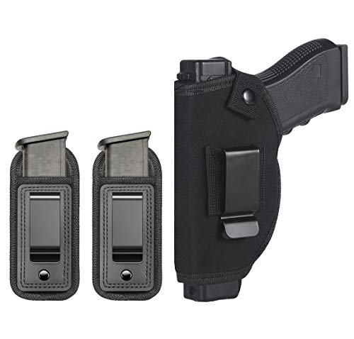 TACwolf Holster Magazine Pouch Universal Right Left IWB OWB Inside for Concealed Carry Holster for S&W M&P Shield Glock 17 19 23 25 26 27 29 30 32 33 38 42 43 Springfield XD XDS Ruger