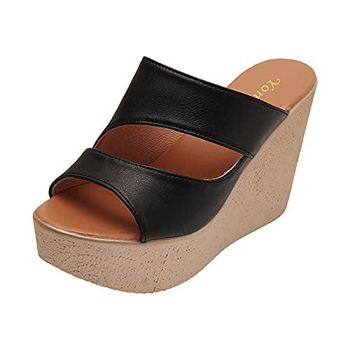 URIBAKY - Sandalias de verano para mujer, sandalias de color liso, pantuflas informales de pendiente, Negro (Negro ), 37 EU