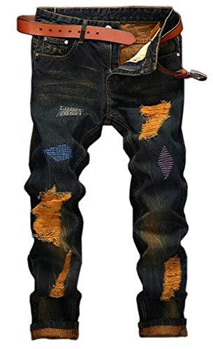 HX fashion Herren Baumwolle Neue Klassische Mode Plissee Stickerei Trend Bequeme Größen Casual Hosen Retro Loch Stein Waschen Farbe Jogging Stovepipe Gerade Jeans Kleidung (Color : Blau, Size : 31)
