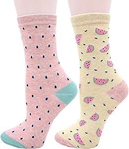 Carahere Women's Cute Animal Pattern Novelty Fun Soft Cotton Crew Socks