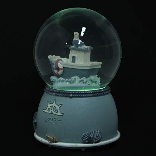Toyvian Globos de neve musicais do oceano, globo de água, pedra de resina, globo de água, estatueta colecionável, globo de água, escultura para casa, globo de água sem bateria