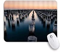 NIESIKKLAマウスパッド 海のレトロな木の切り株サンセット自然に木の棒 ゲーミング オフィス最適 高級感 おしゃれ 防水 耐久性が良い 滑り止めゴム底 ゲーミングなど適用 用ノートブックコンピュータマウスマット