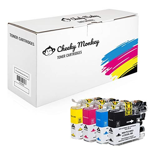 Cheeky Monkey Multipack 4X Tintenpatronen kompatibel mit Brother LC-223BK LC-223C LC-223M LC-223Y MIT CHIP