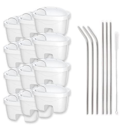 Genussleben Set di cannucce in alluminio 6 x con 12 filtri per acqua Wessper AquaFlux, filtro per acqua potabile, filtro per acqua potabile, filtro con cannuccia riutilizzabile