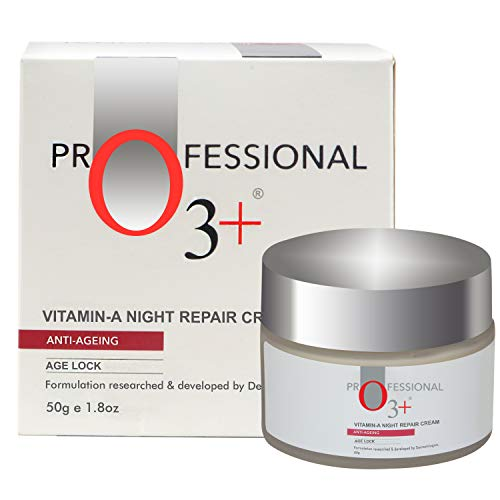 O3+ Anti-Ageing Vitamin-A Night Repair Face Cream Wrinkle Filler Deep Moisturizer for Acne Removal & Even Skin Tone (50g)