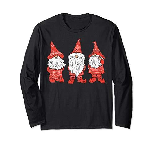 Buffalo Plaid Nordic Christmas Three Gnomes Cute Tomte Gift Langarmshirt
