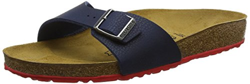 BIRKENSTOCK Herren Madrid Birko-Flor Pantoletten, Blau (Desert Soil Night/Ls Red Desert Soil Night/Ls Red), 43 EU