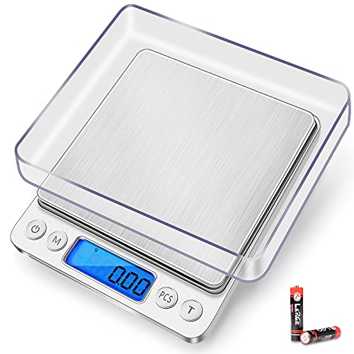 THINKSCALE Food Scale, 3000g/0.1g Digital Kitchen Scale with 6 Units Conversion, 2 Trays, Back-Lit LCD Display, Tare, PCS Function, Gram Scale for Cooking Baking, Jewelry, Fruits (Battery Included)