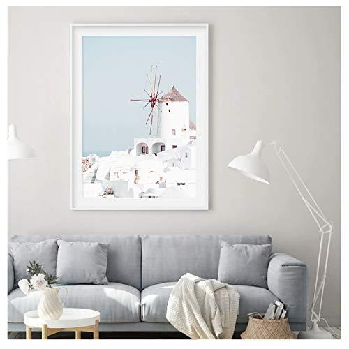 GIRDSS Mediterrane Landschaftsbilder Wandkunst Leinwand Gemälde Galerie Poster und Drucke Innen Wohnzimmer Dekoration-50x70cm-rahmenlos