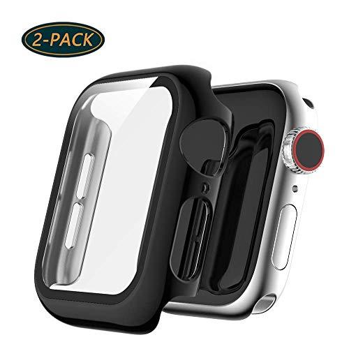 Dilhvy [2 Pezzi Custodia Compatibile con Apple Watch 44mm Serie 4/Serie 5 Pellicola Protettiva,PC Case + Vetro Temperato Cover Accessori per iWatch 44mm Serie 4/Serie 5 Orologio Intelligente-Nero