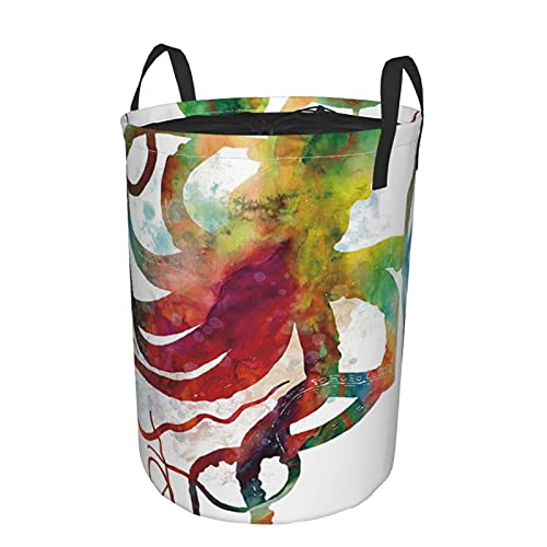 Storage Basket,Hipster Bunter Oktopus-Aquarelleffekt,Collapsible Large Laundry Hamper with Handles 21.6'X16.5'