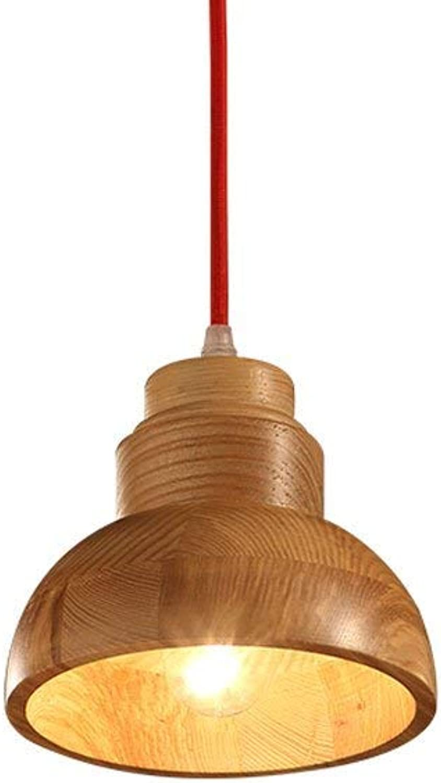 Lámpara Colgante de Techo de Madera de una Sola Cabeza Restaurante pequea araa de Techo para el Dormitorio Estudio Oficina Restaurante Bar Café E27 (Tamao  14 cm de diámetro)