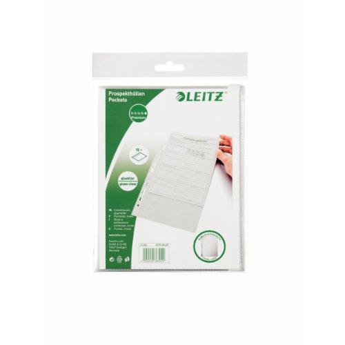 Leitz Standard Prospekthüllen-Set, 15 Stück, A5 Format, Glasklar mit glänzender Oberfläche, Obere Öffnung, 0,075 mm PP-Folie, 47756002