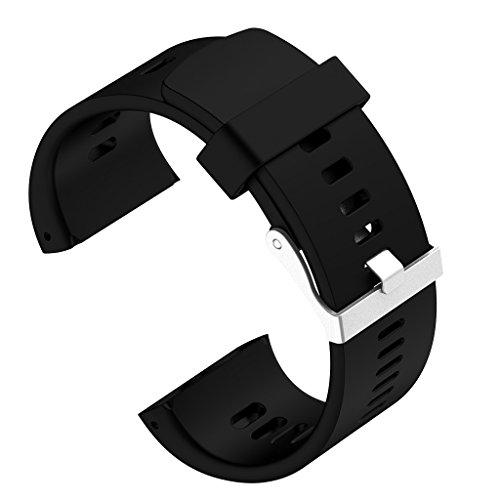 Sharplace Uhrband Watch Strap aus Silikon Uhr Armband Watch Band für Polar V800 GPS Sportuhr - Schwarz