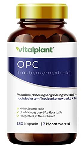 Vitalplant® OPC Extrakt im Braunglas - 440mg hochdosiertes Traubenkernextrakt 70% nach HPLC mit Piperin - 120 Kapseln vegan