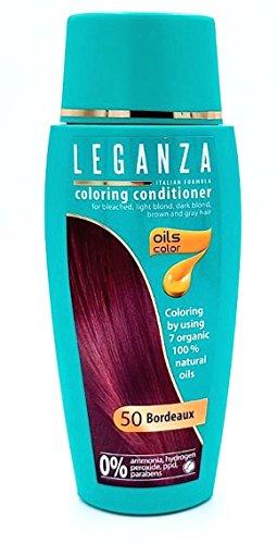 Leganza Färbender Conditioner Farbe 50 Bordeaux Mit 7 Natürlichen Ölen Ammoniak und Paraben frei