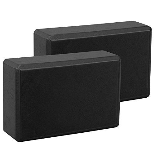Exerz Bloques de Yoga 2 Piezas - Cómodo Ladrillo Yoga/Bloque de Espuma/Antideslizante - Ligero y fácil de Usar (Negro)