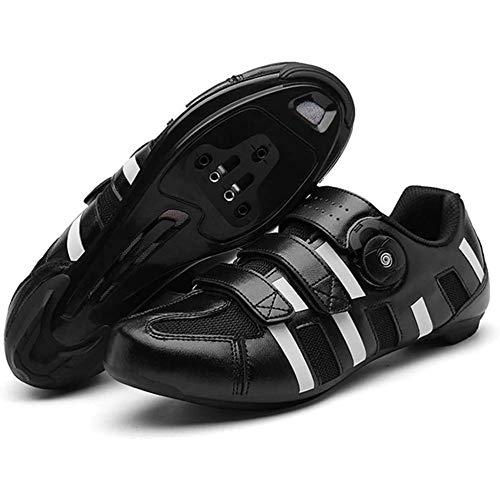 JINFAN Zapatillas De Ciclismo De Carretera Zapatillas De Ciclismo De Montaña MTB De Fondo Duro para Hombre Zapatillas De Ciclismo para Mujer Zapatillas Fuertes Ligeras De Ciclismo,Black-42