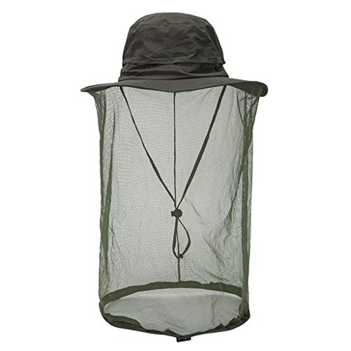Outdoor Mosquito Head Net Hat, Safari Sun Bucket Hat with Hidden Net Mesh Woman Girls Clothing Accessories
