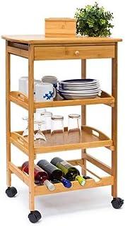Relaxdays - Estante para la Cocina James L con Ruedas, Bambú, 80.5 x 50 x 37 cm, 4.7 Kg