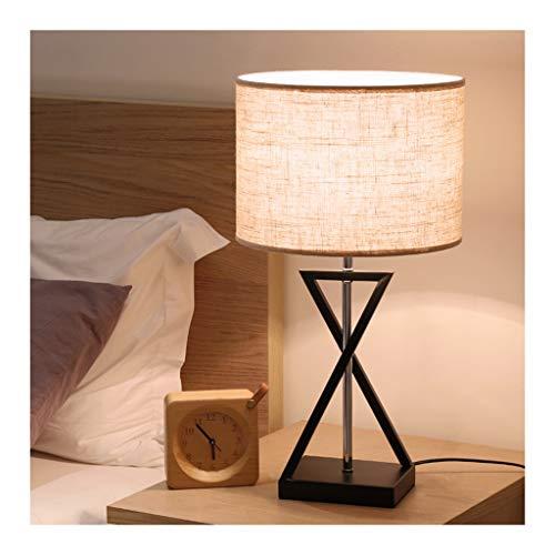 WFL - Lámpara de mesa moderna creativa de tela para escritorio con luz de hierro forjado a distancia, E27 * 1, salón, decoración, sofá, estudio, dormitorio, mesita de alta calidad