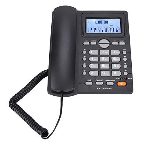 Zhat Teléfonos con Cable, con Altavoz Teléfono Fijo con Cable, para Uso en el hogar de la Oficina para Uso en la Oficina en el hogar(Black)