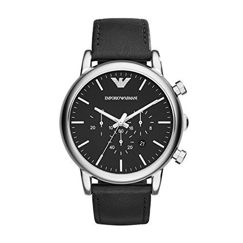 Emporio Armani Herren Chronograph Quarz Uhr mit Leder Armband AR1828