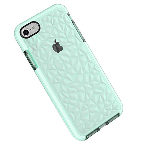 Funda iPhone 8/7, Carcasa Silicona Transparente Protector TPU Airbag Anti-Choque Ultra-Delgado Anti-arañazos Case 3D Modelo Geométrico de Diamante Funda (iPhone 8/7, Verde)