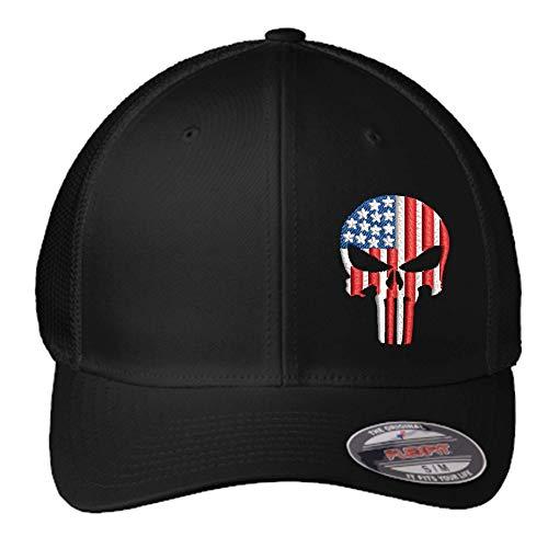 American Flag Punisher Hat | Custom Embroidered Punisher Skull FlexFit Hat | Military Skull Fitted Hat | FlexFit