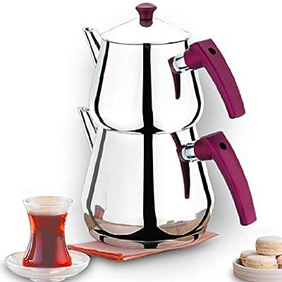 Turkish Tea Pots Set for Stove Top, Stainless Steel Double Teapot Set, Samovar Style Self-Strained Tea Kettle