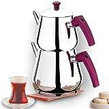 Turkish Tea Pots Set for Stove Top, Stainless Steel Double Teapot Set, Samovar Style Self-Strained...